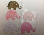 50 pc   Paper Elephant Stickers Pinks Gold     Baby     Shower Decorations