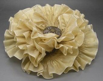 Millinery Flower - Large Pale Gold Ribbon Flower Millinery Applique