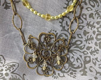 Flower and budding crystals with Brass Chain