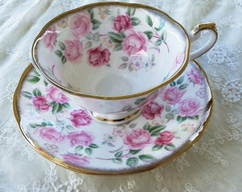 Vintage Royal Castle Roses Tea Cup & Saucer, English Bone China * Gold Trim * By Tejidos *  Almost Fully Painted Flowers * Cottage Rose
