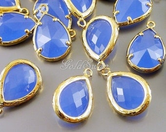 2 pcs periwinkle purple blue faceted glass pendants / long teardrop glass charms 5060G-PW