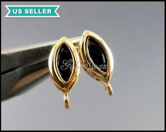 2 black onyx glass stone earrings in gold setting, black & gold glass stone earrings 1020G-BL