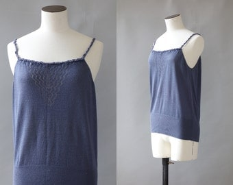 Blue knit top | 1990's by cubevintage | small to medium