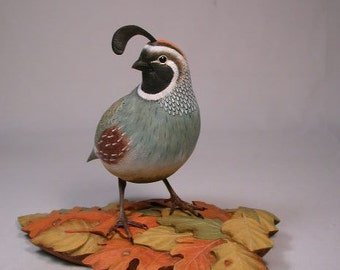 Gambel's Quail Hand Carved Wooden Bird Carving