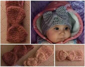 Crochet Infant/Children's Bow Headwrap, hat, child, toddler, winter, head warmer, headband, crochet, infant, baby gift