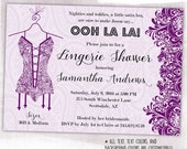 Bachelorette or Bridal Shower Invitation, Lace & Corsets, Lingerie Shower, custom color, script font – digital or printed (BBS346)