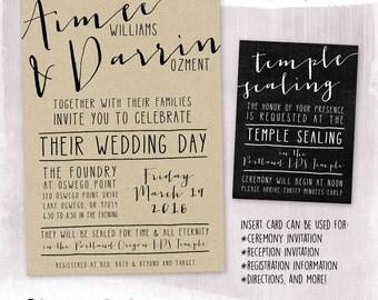 digital or printed casual typography wedding invitation set lds sealing invitation kraft paper