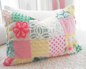 COTTAGE HOME DECOR Vintage Chenille And Minky Fabric Patchwork Quilt Style Pillow Sham