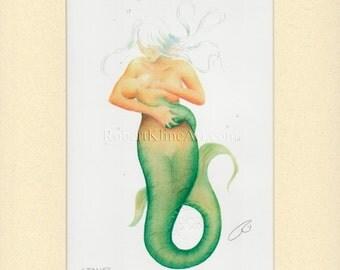 Mermaid Mother Nursing Baby Art Signed Robert Kline Matted 5 x 7 Print Nautical Breastfeeding Maternity Shower Gift Nursery Beach Home Decor