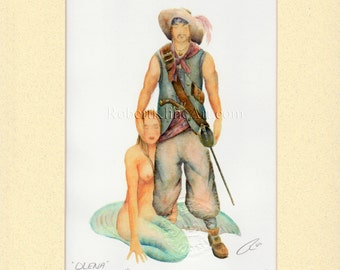 "Pirate & Mermaid Olena Art Signed Robert Kline Matted 11"" x 14"" Print Nude Home Cottage Nautical Beach Fantasy Wall Bathroom Boat Decor Gift"