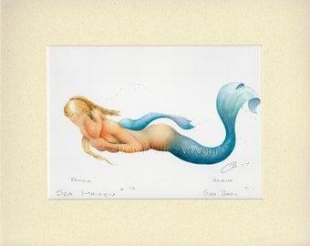 "Mermaid Mother Pamela & Child Art Signed Robert Kline Matted 11"" x 14"" Print Nautical Maternity Baby Shower Gift Home Beach Nursery Decor"