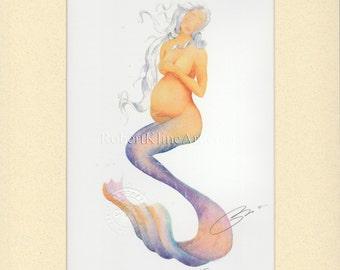 "Pregnant Mermaid Nora Art Signed Robert Kline Matted 5"" x 7"" Print Baby Shower Maternity Gift Nautical Beach House Nursery Home Office Decor"