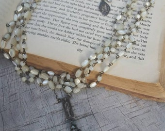 Upcycled Vintage Multi Mother of Pearl Rosary Assemblage Necklace, ooak,Multi Stranded, Layering,Tangled