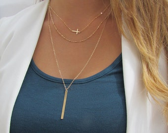 Sideways Cross Necklace Set, Long Layered Vertical Bar Necklace, Set of 3 Minimal Layering Necklaces, 14k gold filled or Sterling Silver