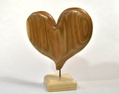 Wife Birthday Gift, 5th Anniversary Heart Wood Carving, Wood Sculpture, Christmas Gift For Mom, Home Decor, I Love You Art, Woodworking