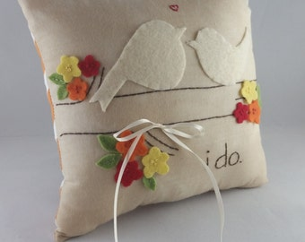 I do. Two Nuzzling Love Birds Wedding Ring Bearer Pillow in Fall Colors