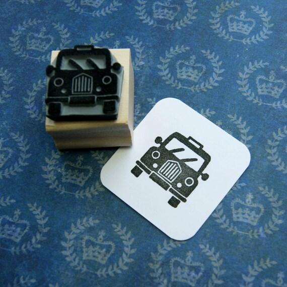 Mini Black Taxi Cab Rubber Stamp - Car Rubber Stamp - London Rubber Stamp - London Wedding - London Stationery - Black Cab - Gift Car Lover