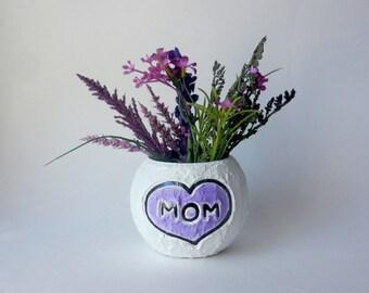 Mom Vase / small bowl vase / white and purple home decor / lavendar purple vase