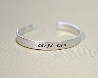 Aluminum carpe diem cuff bracelet to seize the day - Script Font - BR607