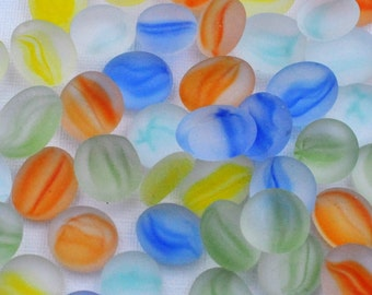 Mosaic Supplies - Frosted Glass Gems - Cats Eye - Colorful - Set of 50