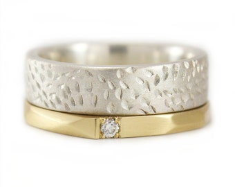 Wedding rings Patterned Gold Diamond Ring Argentium Silver Stacking Rings