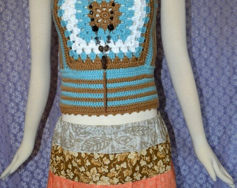 Hand Made 1970s Vintage crochet Womens Granny Square Hippie Tops Vest Sweater Cropped Tank top