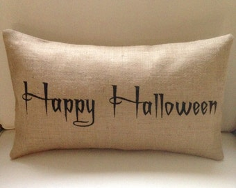 Happy Halloween burlap (hessian) pillow cover hessian cushion cover