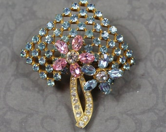 Vintage Blue, Pink, Lavender Pastel and Clear Rhinestone Gold Floral Tone Brooch