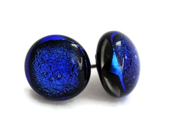 Small Dichroic Stud Earrings, Fused Glass Earrings, Blue Earrings, Post Earrings, Dichroic Fused Glass Earrings, 137