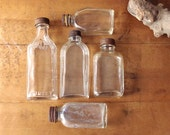 Antique Glass Bottle Collection - Five Old Glass Medicine Bottles - Embossed Clear Glass
