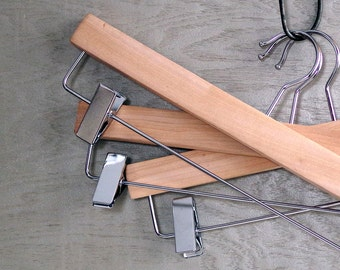 Vintage Wood Pant or Skirt Hangers - Unfinished Wooden Store Clothes Hangers