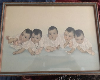 Vintage The Dionne Quintuplets Photograph All Original born May 28, 1934