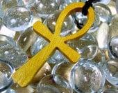 Ankh Cross Pendant / Exotic Yellow Heart Wood / Eternal Life