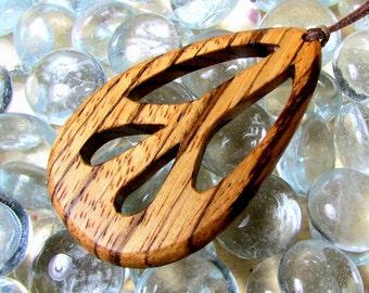 Peace Sign Pendant / Design A / Exotic Zebra Wood