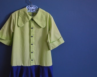 Vintage Girl's Apple Green and Navy Blue Drop Waist Mod Dress - Size 8