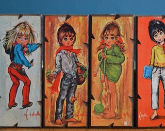 Vintage Set of Four 1960s Big Eyed Teens Prints / Plaques