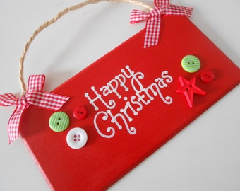 Happy Christmas hand painted wooden sign in red
