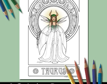 One Adult Coloring Page, Zodiac Art, Taurus, Printable Adult Coloring Pages, Coloring Pages for Adults, Fairy Coloring Pages, Fantasy