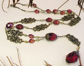 Stunning Italian Renaissance Art Nouveau Ornate Silver Faceted Purple Amethyst Faceted Crystal Vintage Long Flapper Necklace