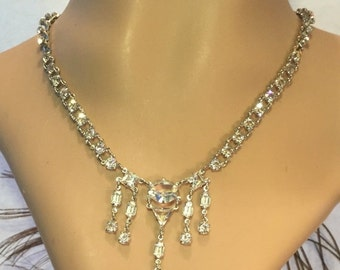 Valentines Lovers SALE Stunning Art Deco Geometric Open Back Crystal Silver Vintage Necklace Art Deco Jewelry