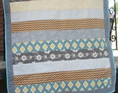 Patchwork Baby Quilt/Lap Quilt in Teal, Grey, Yellow, and Brown