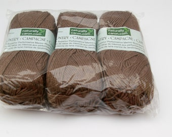 Naturally Caron Country Yarn Deep Taupe 3 Skeins