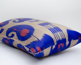 20x12 lumbar blue and coral long ikat pillow cover, ikat pillow case, ikat lumbar size, blue ikat, blue pillows