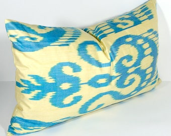 22x14 lumbar ikat pillow cover, lumbar ikat, pillow, long pillow, blue, yellow, blue yellow, uzbek ikat, ikat cushion, pillow, lumbar pillow
