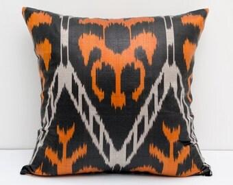 SALE Orange black pillow cover, ikat pillow, ikat cushion, orange, black, decorative pillow, 15x15 size, authentic ikat, traditional home