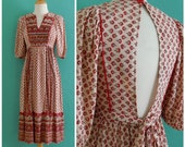 70's ethnic floral open back dress ~ xs small