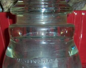 Hemingray-45 Telephone Telegraph Insulator, Clear Glass, Threaded, Smooth Bottom, Vintage 1941 Salvage