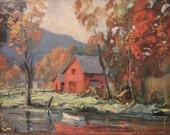vintage '60s Autumn Reflections framed litho art print. Red barn, fall leaves foliage river scene. Orange gold, chunky wood frame
