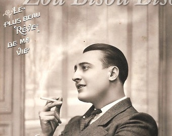 Parisian man daydreaming of his love. 1920s, 20s, Vintage Photo Digital Download. Black and white photograph, Romantic.
