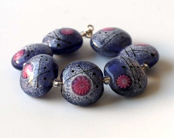 Lampwork Beads, Handmade Purple Glass Lampwork Bead Set